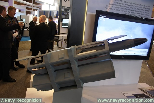 The RBS15 anti-ship missile (seen here in a scale model at Indodefence) will be the main surface to surface weapon system onboard the Stealth FAC