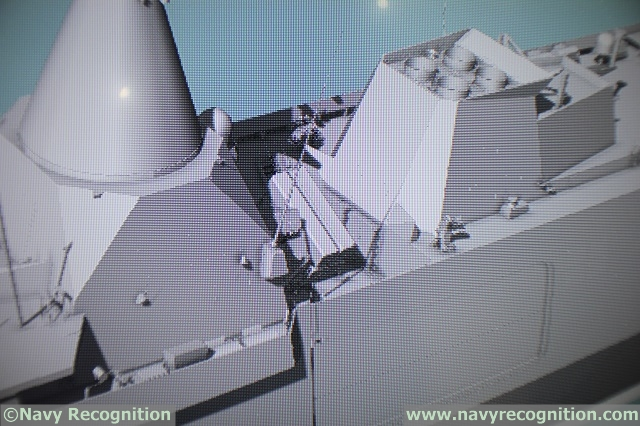 Detailed view of the NSM missile launchers and SuperBarricade decoy launchers (which are set to be replaced with a next generation solution from France).