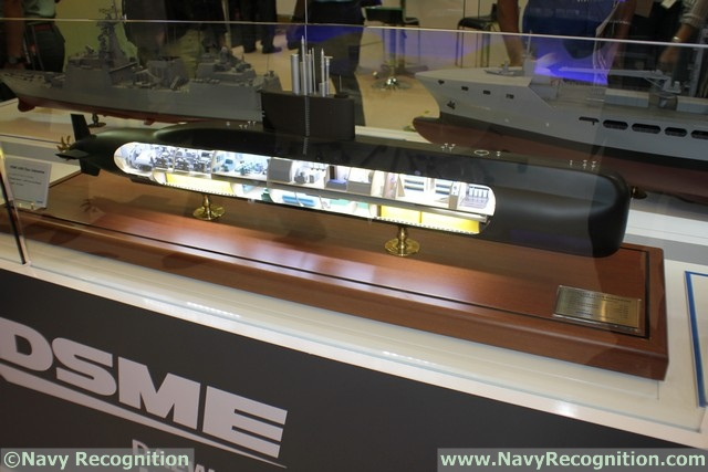 DSME is also showcasing a model of the 1400 class SSK. DSME announced on March 24 that the first of three DSME1400 class submarines it is building for the Indonesian Navy has been launched at its Okpo Shipyard.