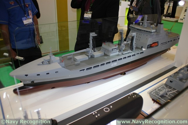 Finally, DSME is showcasing a model of the future Tidespring, first ship of the Tide class fleet tankers for the Royal Fleet Auxiliary. The vessel will be delivered in May 2016. DSME will hold the keel laying ceremony for a smaller variant (27,000 tons compared to 40,000 tons) ordered by the Royal Norwegian Navy in June.