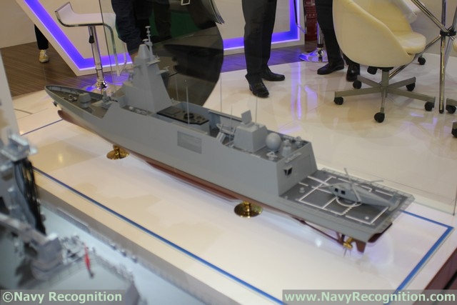 DSME is also showing at DSA the DW3000 Frigate selected by the Royal Thai Navy. The displacement is about 3,700 tons. Navy Recognition learned that the keel laying will take place in mid-May 2016 and delivery is expected for March 2018. A second unit may be ordered but Thailand may order 3 submarines from China instead. The model on display shows a 76mm main gun, Phalanx CIWS, Harpoon launchers, Saab SeaGiraffe radar and Atlas Electronik towed sonar.