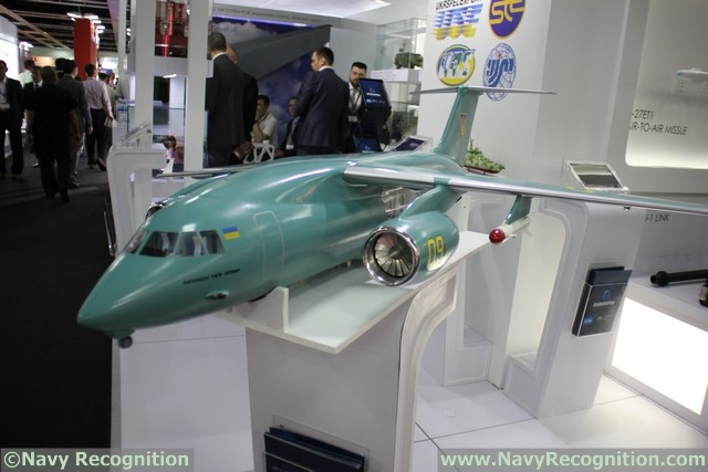 "At the DSA 2016 tri-service defence exhibition currently held in Kuala Lumpur (Malaysia) the Ukrainian pavillion (UkrOboronProm) is showcasing a scale model of the Antonov AN-148-400M ""medium range maritime reconnaisance aircraft""."