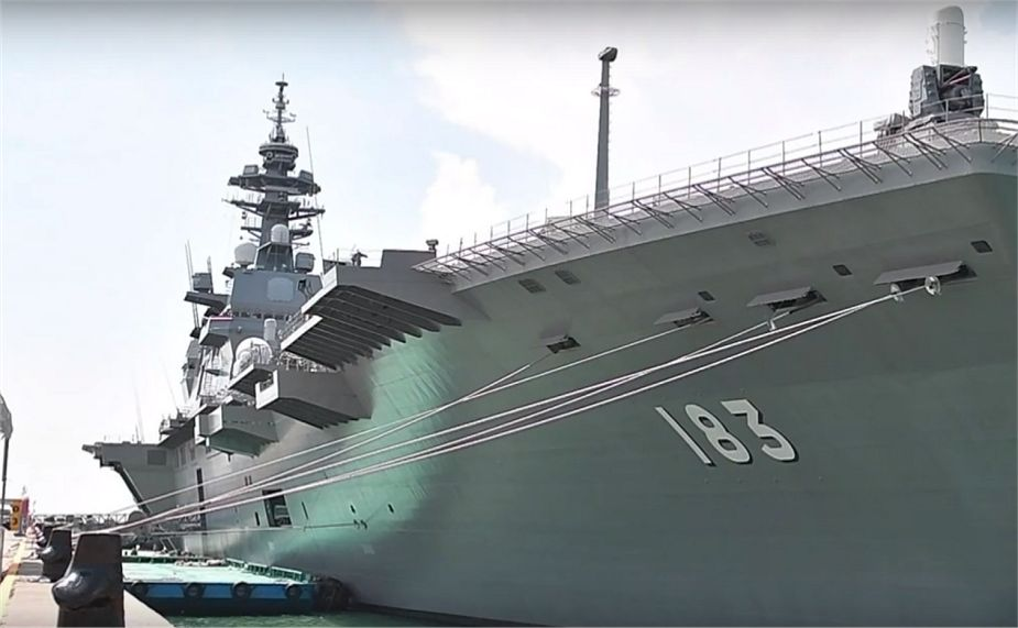 One of the largest ship of the Japanese Navy JS Izumo helicopter carrier Singapore IMDEX 2019 925 001
