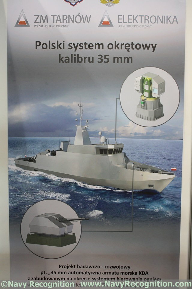 At the 13th Baltic Military Fair BALT-MILITARY-EXPO 2014 currently held in Gdansk, Poland, ZM Tarnow (a member of Polish Defense Holding PHO) showcases its 35mm turret project for the Kormoran II MCMV (Mine counter measure vessel) program.