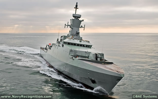 "The Royal Navy of Oman's Khareef class corvettes were built by BAE Systems based on the ""99 Metre Corvette"" design. It is an efficient platform with sea-keeping qualities allowing blue water operations. Its fully integrated combat systems makes the Khareef class capable of both Anti-air warfare and Anti-surface warfare operations."