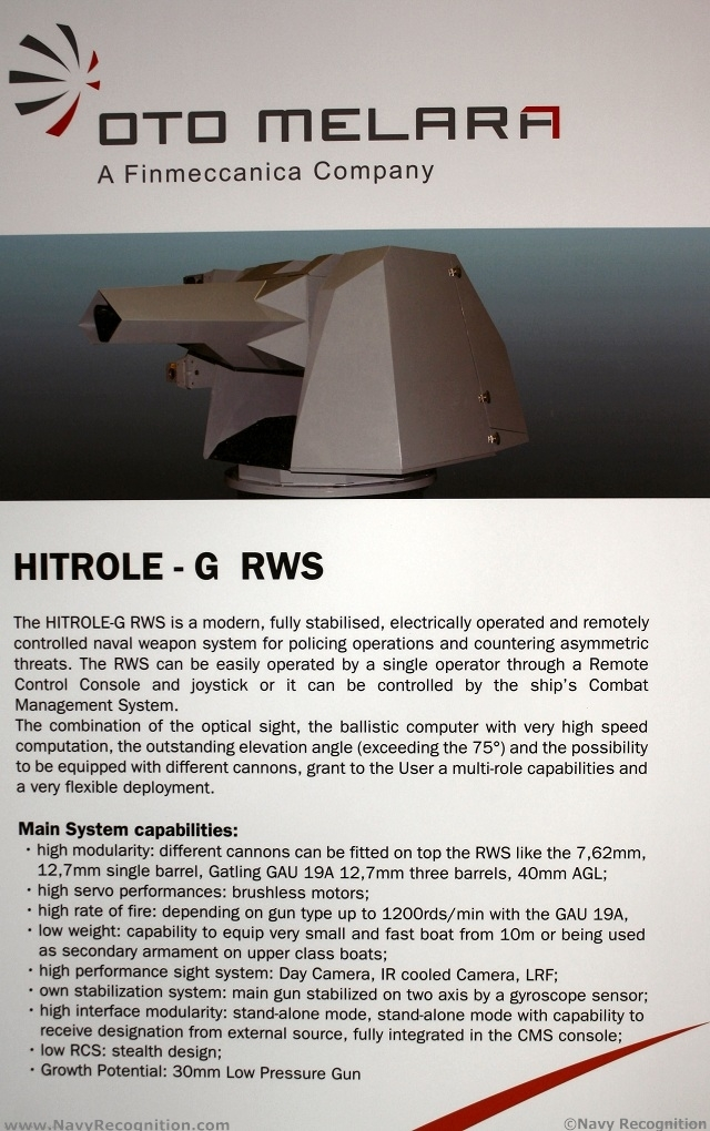 During DIMDEX 2012 Oto Melara, a world leader in naval weapon systems, presented for the first time a new naval weapon system called HITROLE-G RWS.