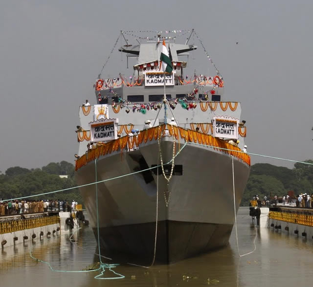 The Indian Navy's modernization quest under Project-28, to stealthily hunt and destroy lurking enemy submarines, was further bolstered today with the launch of the second indigenous anti-submarine warfare (ASW) corvette Kadmatt - named after an island in the Lakshwadeep archipelago of India -- built by Garden Reach Shipbuilders & Engineers (GRSE), at Kolkata.