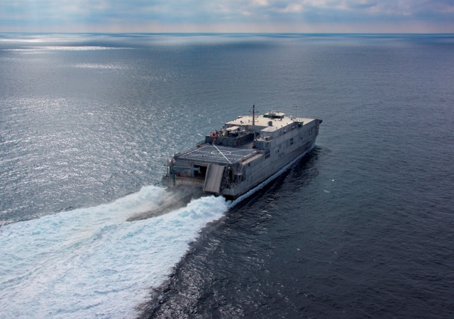 The future USNS Millinocket (JHSV 3), completed builder's sea trials at the Austal USA shipyard on Dec. 13, in Mobile, Ala. Successful completion of builder's trials marks the end of the first phase of a set of rigorous trials during which all of the ship's systems and capabilities are evaluated to ensure they are in accordance with its plans and specifications.