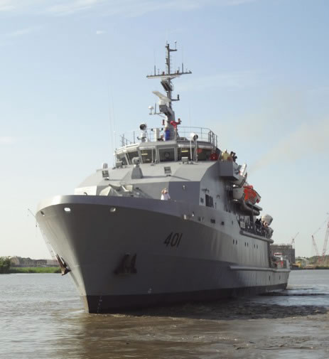 The Iraqi navy and the U.S. Navy's Naval Sea Systems Command marked the delivery of two 60-meter Offshore Support Vessels (OSV 1/ OSV 2) to the Iraqi navy in a ceremony at the Umm Qasr naval facility, Dec. 20.