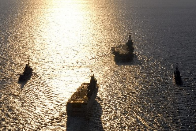 Royal Navy and Marine Nationale plan to deploy a large naval force in the Mediterranean in the fall of 2012 with aircraft carriers, amphibious vessels, destroyers and frigates.