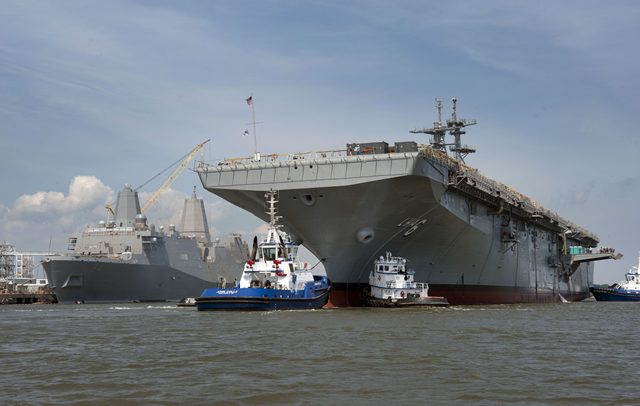 "The newest amphibious assault ship America (LHA 6) was christened Oct. 20 at a ceremony in Pascagoula, Miss. ""When America joins the fleet, we'll be a stronger, more flexible, and a better Marine Corps team. We need this ship,"" said Vice Chief of Naval Operations Adm. Mark Ferguson during the ceremony."