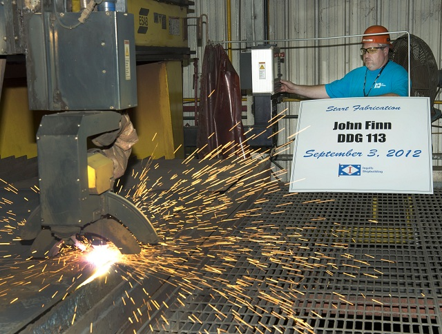 Huntington Ingalls Industries has started fabrication on the U.S. Navy's next Aegis guided missile destroyer, John Finn (DDG 113). The ship will be built at the company's Ingalls Shipbuilding division and will be the 29th Arleigh Burke-class destroyer built at Ingalls.
