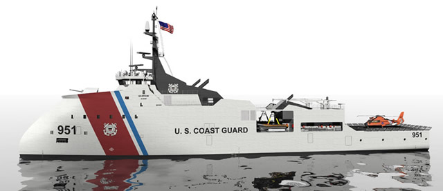 In response to the U.S. Coast Guard's demanding Offshore Patrol Cutter requirements, Vigor Industrial looked beyond the conventional. With the Ulstein X-BOW®, the Vigor OPC delivers unmatched seakeeping and endurance. The Ulstein X-BOW is an inverted bow designed by Ulstein Group to improve handling in rough sea, and to lower fuel consumption by causing less hydrodynamic drag.