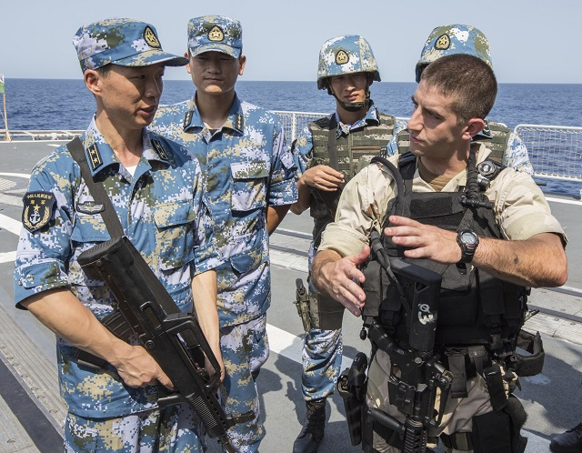 The guided-missile destroyer USS Mason (DDG 87) participated in a counter piracy exercise in the Gulf of Aden with elements of the Chinese People's Liberation Army (Navy) (PLA(N)), Aug. 24-25. Mason joined Chinese destroyer Harbin (DDG 112) and Chinese auxiliary replenishment oiler Weishanhu (AO 887) to conduct a series of evolutions including combined visit, board, search and seizure (VBSS), live-fire proficiency, and aviation operations to enhance bilateral interoperability in the U.S. 5th Fleet area of responsibility (AOR).