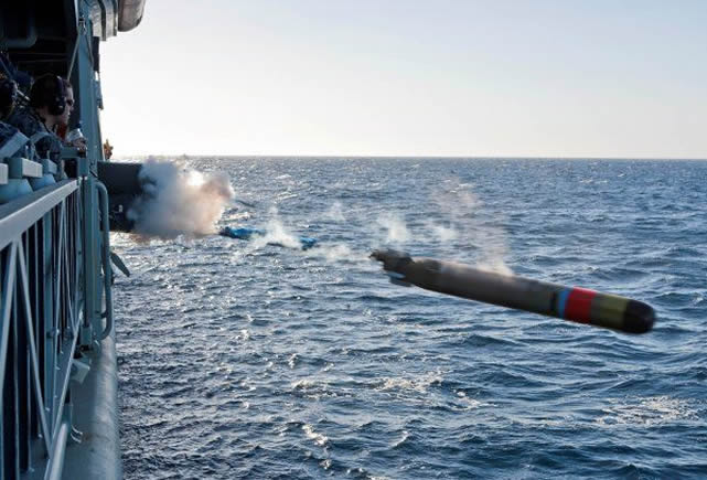 "The Royal Australian Navy has successfully conducted the world's first firing of a ""war shot"" MU90 Lightweight Torpedo, Chief of Navy, Vice Admiral Ray Griggs AO CSC RAN announced today. ANZAC Class Frigate HMAS Stuart fired the explosive warhead against a specially designed target in the East Australian Exercise Area. The successful firing was the final milestone before the torpedo is accepted for operational service across the fleet."
