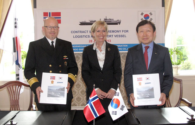 DSME received an order for a combat support ship from the Norwegian Defense Logistics Organization. The value of this contract is approximately 230 million USD. The warship is scheduled to be delivered to the Norwegian Navy in September 2016.