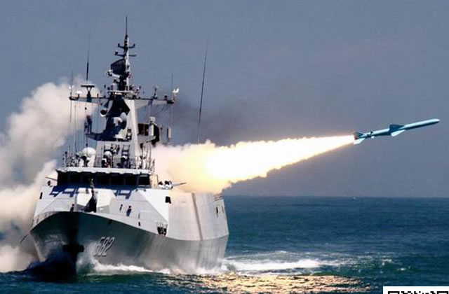 The People's Liberation Army Navy (Chinese Navy) released some pictures showing one of its newer Type 056 Corvette (Jiangdao Class) test firing a YJ-83 anti-ship missile. The ship involved in the test is first of class corvette Bengbu (hull number 582) which was commissioned in March 2013. Corvette Bengbu is deployed with the PLAN's East Sea Fleet (Homeport: Zhoushan naval base).