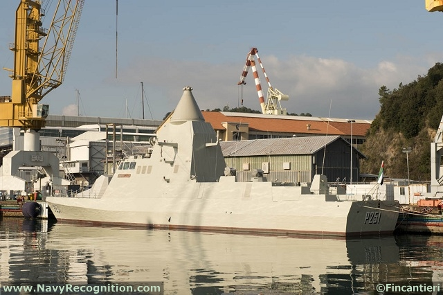 "The delivery ceremony of two vessels for the United Arab Emirates Navy was held today at the Fincantieri shipyard in Muggiano (La Spezia). These were an ""Abu Dhabi Class"" corvette, launched in February 2011, and the ""Ghantut"" patrol vessel, launched at the same yard in January 2012."
