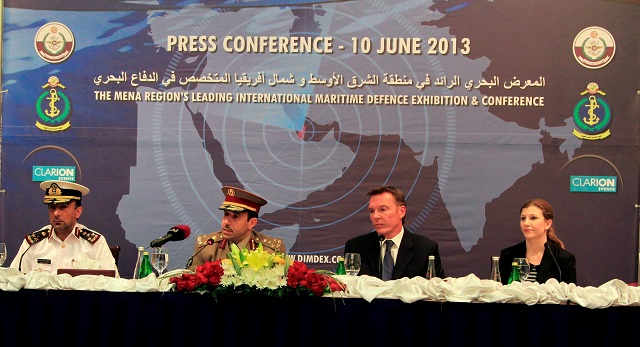 Doha, Qatar - 10 June 2014: DIMDEX 2014, the MENA Region's leading international maritime defence exhibition and conference held under the patronage of His Highness, Sheikh Tamim bin Hamad bin Khalifa Al-Thani, Crown Prince of Qatar and Deputy Commander-in-Chief of the Qatar Armed Forces, held today a press conference where Brig. Dr. (Eng) Thani A. Al-Kuwari, Assistant Chief of Staff for Financial Affairs, Qatar Armed Forces, updated the media with information on what is to be maritime defence's largest event.
