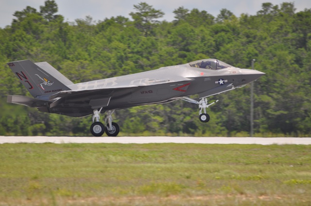 The U.S. Navy's Strike Fighter Squadron (VFA) 101 received the Navy's first F-35C Lightning II carrier variant aircraft from Lockheed Martin yesterday at the squadron's home at Eglin Air Force Base, Fla.