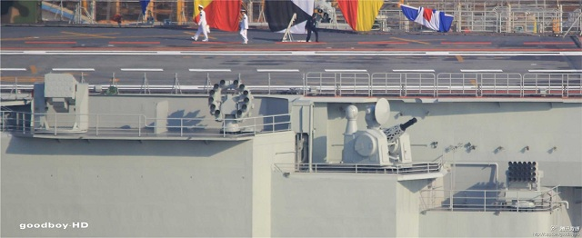 Recent pictures have emmerged on the Chinese internet showing the nation's Aircraft Carrier Liaoning new Close in Weapon System (CIWS) in action. The new generation CIWS, called H/PJ-14, is reported by Chinese media to be of the third generation.