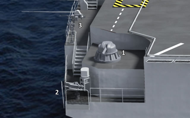 At the bow, starboard side of Vladivostok, the following weapon systems are expected to be fitted: