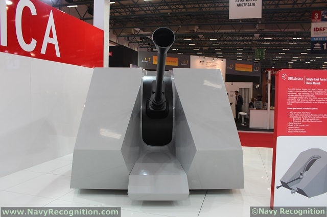 At the IDEF 2013 defense exhibition which was held recently Istanbul, Turkey, Italian company Oto Melara unveiled for the first time the 40mm single FAST FORTY naval mounting with dual feeding system (type C) with stealth cupola.