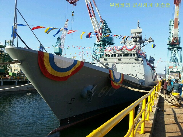 Hyundai Heavy Industries (HHI), the world's biggest shipbuilder, today held a launch ceremony for its fifth frigate, ROKS Jeonbuk. The launch ceremony was attended by the Chief of Naval Operations Admiral Mr. Hwang Ki-chul, governor of Northern Jeolla Province Mr. Kim Wan-ju, Hyundai Heavy's president & CEO Mr. Lee Jai-seong and other government and military officials in Ulsan shipyard.
