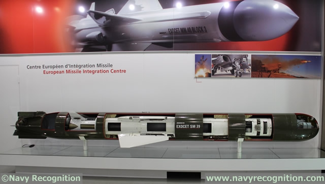 "At the entrance of the MBDA facility, several missile systems (not scale models!) are on display, including this SM39 anti-ship missile inside its ""VSM"" (submarine launched version of the Exocet that fits inside a torpedo for the underwater phase). Complex lessons learned while developing the SM39 were very valuable to MBDA when developing the NCM"