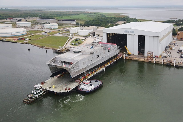 On September 30, 2014, Austal USA successfully completed the launch process of Trenton (JHSV 5) - the second Joint High Speed Vessel (JHSV) launched by Austal in 2014. This 103-meter high-speed catamaran represents the U.S. Department of Defense's next generation multi-use platform. It is part of a 10-ship program worth over US$1.6 billion.