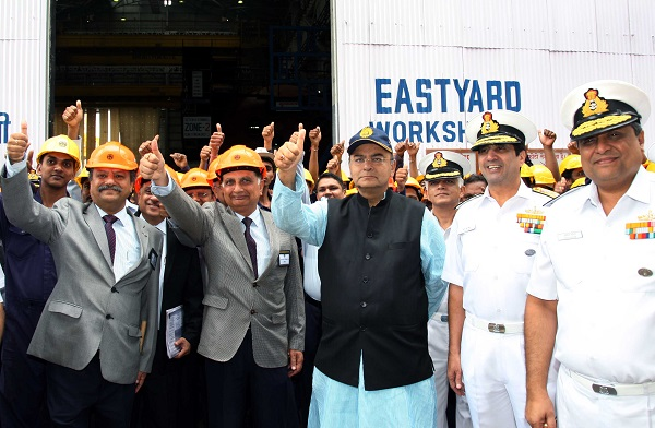 Hon'ble Raksha Mantri Shri Arun Jaitley accompanied by Admiral RK Dhowan Chief of the Naval Staff visited Mazagon Docks Limited, Mumbai on 27 Aug 14 and reviewed the progress of the Project 75 (Indigenous submarine construction) as well as the other ongoing warship building projects including P-15 B class stealth destroyers .