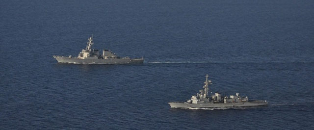 In mid-August , the French Navy (Marine Nationale) Georges Leygues-class anti--submarine warfare frigate Montcalm (D 642) and the U.S. Navy Arleigh Burke Flight II Class destroyer USS Porter (DDG 78) conducted a passing exercise (PASSEX) in the eastern Mediterranean sea.