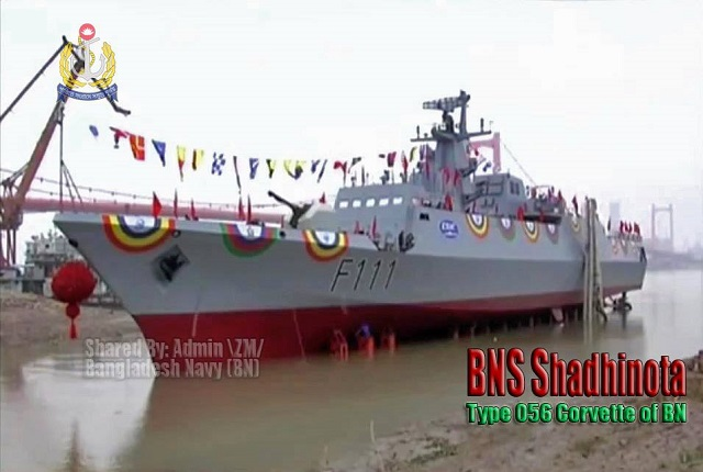 "A new corvette ordered by the Bangladesh Navy was delivered today at the China Shipbuilding & Offshore International Company (CSOC)'s Wuchang Shipyard in Wuhan, China. CSOC is part of the part of the State Shipbuilding Corporation, China Shipbuilding Industry Corporation (CSIC). The corvette nammed Shadhinota (meaning ""Independent"") with hull number F111 is based on the Chinese Navy Type 056 Corvette (Jiangdao class)."