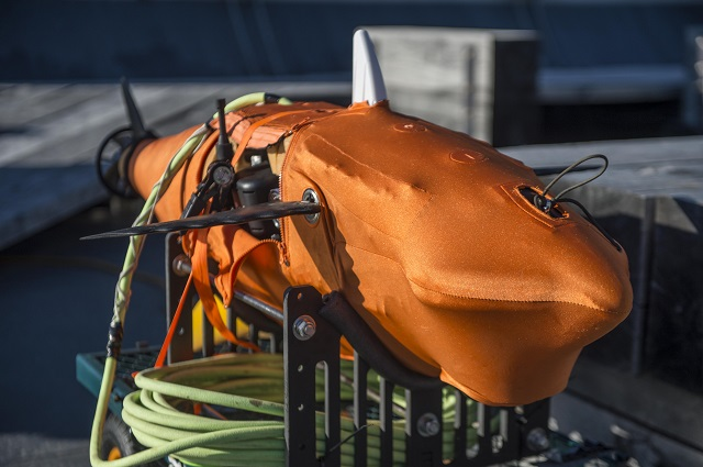 VIRGINIA BEACH, Va. (Dec. 11, 2014) A variant model of the GhostSwimmer vehicle developed by the Chief of Naval Operations Rapid Innovation Cell project Silent NEMO, awaits testing during a demonstration at Joint Expeditionary Base Little Creek - Fort Story. Project Silent NEMO is an experiment which explores the possible uses for a biomimetic device developed by the Office of Naval Research. (U.S. Navy photo by Mass Communication Specialist 3rd Class Edward Guttierrez III/Released)