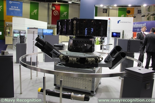 At Euronaval 2014 Rheinmetall was displaying the MASS system equipped with CANTO anti-torpedo technology from French defence contractor DCNS