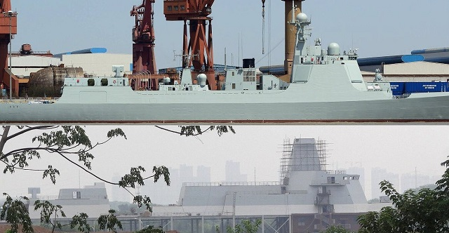 Type 052D destroyer (top) compared with the Type 055 SIF model (bottom). The HQ-10 missile launcher (RAM like) located aft was used to put both pictures at the same scale. It looks like Type 055 will be quite larger than Type 052D.