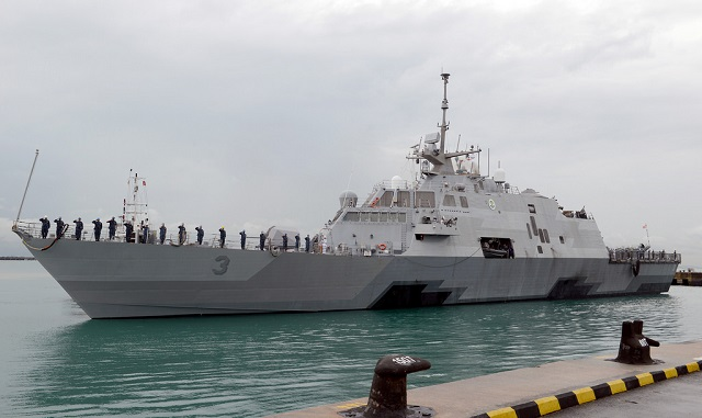 USS Fort Worth (LCS 3) arrived in Singapore Dec. 29 as part of a 16-month rotational deployment to 7th Fleet in support of the Indo-Asia-Pacific rebalance. As part of an initiative to deploy up to four LCS to the region on a rotational basis, Fort Worth will operate out of Singapore as a maintenance and logistics hub from which the ship will conduct patrols and train with regional navies during exercises like Cooperation Afloat Readiness and Training.