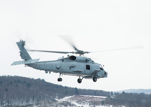 "The third and fourth MH-60R ""Romeo"" helicopters take flight from the Lockheed Martin facility in Owego, N.Y., to join the Royal Australian Navy's (RAN) first pair of helicopters training at Jacksonville Naval Air Station in Jacksonville, Florida."