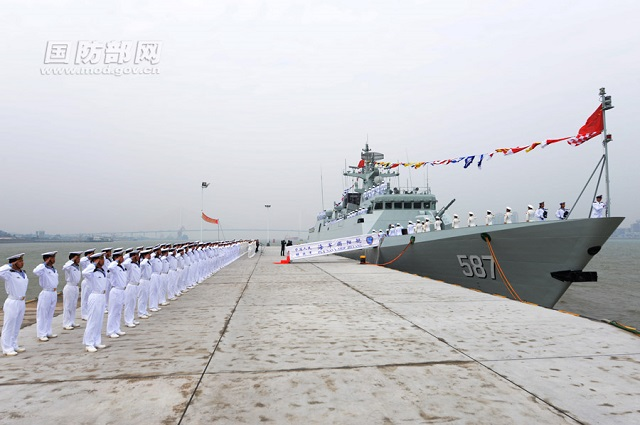 "A commissioning, naming and flag-presenting ceremony of the new ""Jieyang"" corvette (locally designated guided missile frigate) of the Chinese Navy (PLAN) was held on the morning of January 26, 2014 at a naval port in Shantou of south China's Guangdong province, marking that the ship is officially commissioned to the South China Sea Fleet of the PLAN. ""Jieyang"" is the Tenth Type 056 Corvette (Jiangdao class)."