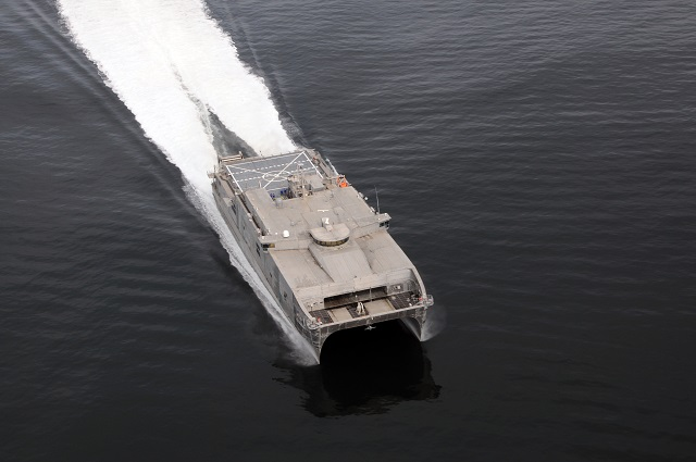 USNS Spearhead (JHSV 1), operated by the Military Sealift Command (MSC), completed Fleet Experimentation (FLEX) period two from July 15 - 22. Southern Partnership Station-Joint High Speed Vessel 2015 FLEX phase 2 explored JHSV's ability to support broader maritime C2 capabilities, by supporting the organic deployment of two un-manned aerial systems (UAS), Scan Eagle and RQ-20A (Puma).