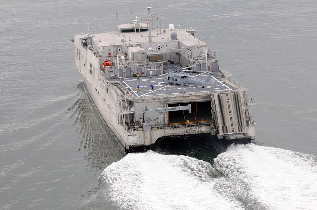 The U.S. Navy's first joint high-speed vessel departed Joint Expeditionary Base Little Creek-Ft. Story today on its maiden deployment to the U.S. 6th Fleet Area of Responsibility. USNS Spearhead (JHSV 1) is expected to remain in U.S. 6th Fleet until May 2014 and sail to the U.S. 4th Fleet area of responsibility through the end of fiscal year 2014. While deployed, the ship will undergo planned experimentation and testing to determine the ship's capabilities.