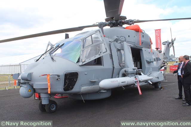 Navy Recognition learned during the Farnborough International Airshow 2014 that NHIndustries and MBDA started integration of the MARTE ER (Extended Range) anti-ship missile on the NH90 NFH maritime helicopter. NHI and MBDA representatives explained that fitting trials already occured in June 2014 while flight and separation tests were planned for the fall of 2014.