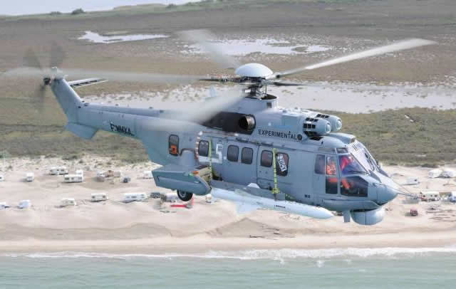"A specialized team of Helibras and Airbus Helicopters experts tested for future Brazilian Navy needs a prototype of the EC725 Caracal carrying two MBDA Exocet AM39 anti-ship missiles and a chin mounted Telephonics AN/APS-143 maritime imaging radar system. Eight of the Sixteen EC725 helicopters belonging to the Brazilian Navy will receive this configuration. As part of ""Project H-X BR"" 50 EC725s were ordered by the Brazilian Ministry of Defense for the three Army corps."
