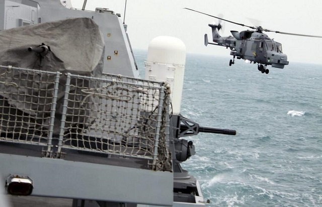 A Wildcat, the Royal Navy's next-generation helicopter, has landed for the first time on the flight deck of a Type 45 destroyer at sea. The Royal Navy's Wildcat, the maritime attack variant of the Lynx helicopter, is currently undergoing extensive trials with 700W Naval Air Squadron. As part of those trials, the aircraft has been working at the MOD's aerial range in Cardigan Bay.