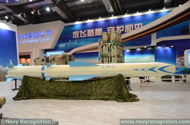 At Zhuhai China Air Show 2014, (which is currently being covered by our affiliate Army Recognition) Chinese defense company China Aerospace Science and Technology Corporation (CASC) unveiled the new CX-1 supersonic anti-ship cruise missile (ASCM). Navy Recognition is able to shed some light on this new supersonic missile that comes in two versions: The CX-1B that can be truck launched from land and the CX-1A designed to be surface launched from a vessel at sea.