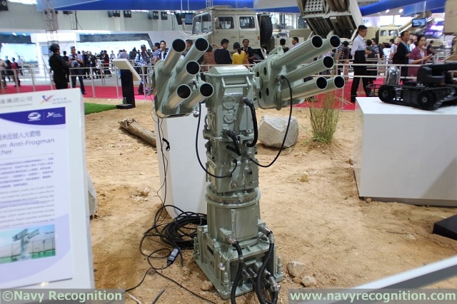 At Zhuhai China Air Show 2014, (which is currently being covered by our affiliate Army Recognition) Chinese defense companies China South Industries Group Corporation and Norinco unveiled the CS/AR1 55mm Anti-Frogman Rocket Launcher.