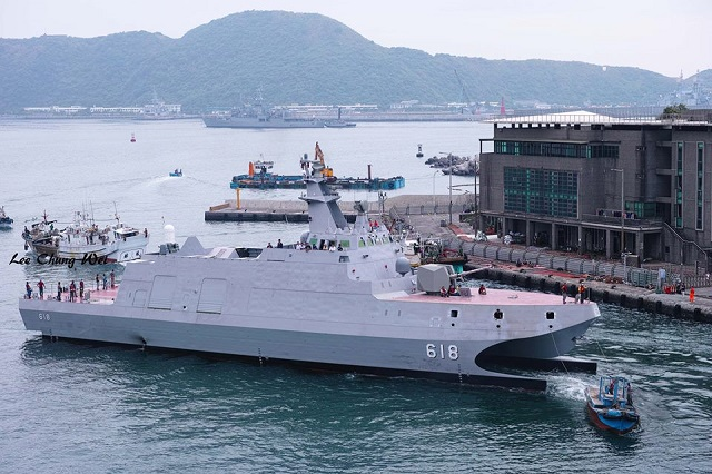 "Taiwan's first unit in a new class of 12 catamaran corvettes started its trials at sea. The ""Tuo River"" was going out at sea for the first time from Suao in northeastern Taiwan's Yilan county, where it was christened in March this year. The corvette will undergo a series of sea trials before its commissioning expected in the first half of 2015."