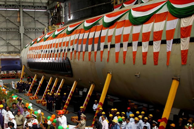 Kalvari, first of the Indian Navy's Scorpene class diesel electric submarines (SSK) being built under the Project 75, under collaboration with French company DCNS, achieved a major milestone today (07 Apr 2015) with her 'undocking' at the Mazagon Dock Limited (MDL) India's prime shipyard located in Mumbai .