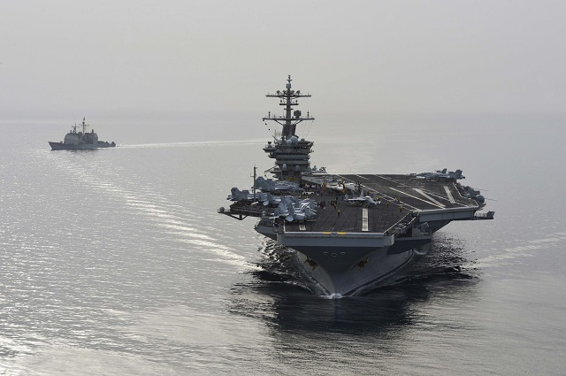 The U.S. Navy has sent the aircraft carrier USS Theodore Roosevelt and its escort USS Normandy, a Ticonderoga class cruiser, from the Gulf into the Arabian Sea off Yemen on April 19. The ships will join seven other U.S. vessels (including the Iwo Jima Amphibious Ready Group, which includes a complement of more than 2,000 U.S. Marines) where Iranian-backed Huthi rebels are battling forces loyal to the Western-backed president.