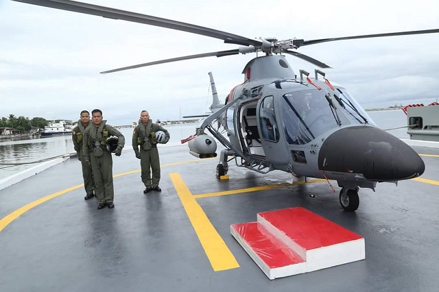"The Philippine Navy (PN) formally commissioned into service its two armed AgustaWestland AW-109E ""Power"" helicopters during a ceremony at Naval Station Jose Andrada, on Roxas Boulevard, Manila this week. The helicopters are armed with two FN Hertsal FN RMP rocket machine gun pods combining a 50 caliber machinegun and three 2.75 inch rockets."